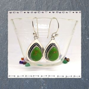 Southwest Green Turquoise and Silver Earrings